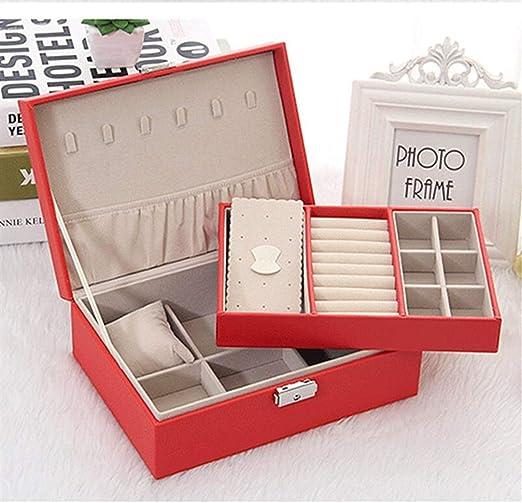 Gu3Je Joyero Joyero, almacenaje de la joyería, Bandeja extraíble, for el Pendiente, Anillos, Pulseras para Guardar Joyas (Color : Red, Size : 24x17x8.6cm): Amazon.es: Hogar