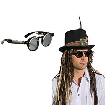 1fa147c83a0f0 Steampunk Goggles Gothic Folding Round Halloween Victorian Sunglasses Fancy  Dress Glasses Fun Glasses Vampire Round Glasses