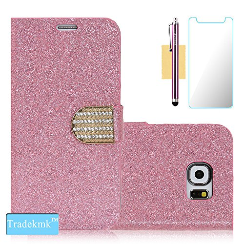 Galaxy S6 Edge Plus Case, Tradekmk(TM) Glitter Powder&PU Leather Flip Wallet Stand Case For Samsung Galaxy S6 Edge Plus [+Stylus+Screen Protector+Cleaning Cloth][Crystal-Studded]-(Pink)