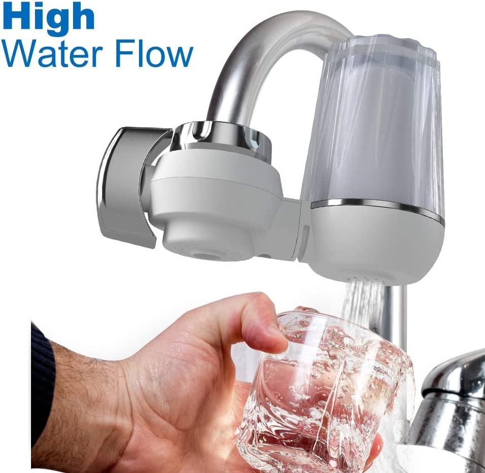 Odor High Water Flow 400 Gallon SimPure Water Filter Faucet DA03 Fluoride Tap Mount Water Purifier Filtration System with Visible Clear Shell Remove 99/% Lead Chlorine Easy Installation
