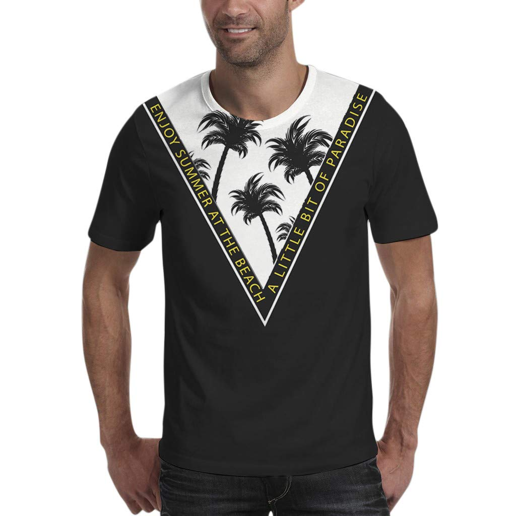Save 15/% BBesty Mens Casual Coconut Printed Short-Sleeved T-Shirt