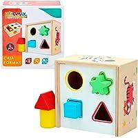 WOOMAX- Cubo actividades de madera 6 piezas, colores parchís (Colorbaby 42754)