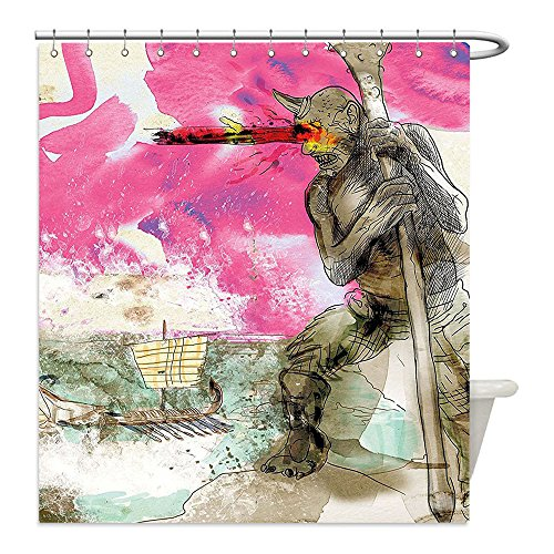 Liguo88 Custom Waterproof Bathroom Shower Curtain Polyester Modern Decor Sketchy Abstract Painting of a Greek Myth God Image Artwork Sky Blue Grey and Hot Pink Decorative bathroom - Greek Warrior Costume Pattern