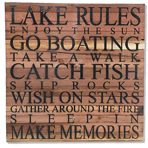 Second Nature By Hand Reclaimed Wood Art Rustic Wall Decor – Lake Rules Enjoy The Sun – 28 x 28 – Made In The U.S.A. Review