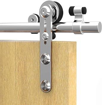 182CM/6FT Herraje para Puerta Corredera Kit de Accesorios para Puertas Correderas Juego de Piezas de acero inoxidable Carril para Puerta Deslizante,para puerta de madera: Amazon.es: Bricolaje y herramientas