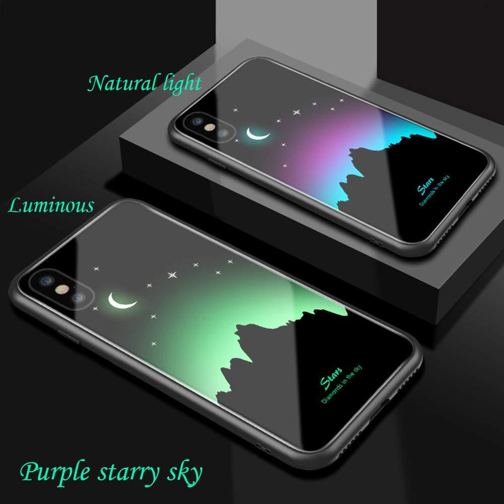 Huhu833 Anwendbar f/ür iPhone XR explosionssicheres Leuchtendes gemaltes ausgeglichenes Glas Abdeckungs Fall 6.1 Zoll