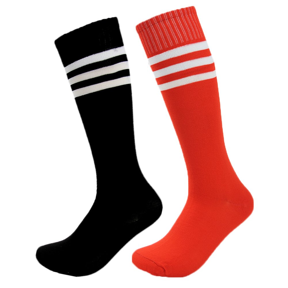 Fasoar Unisex High Colorful Striped Stretch Football Sports Boot Hosiery Soccer SocksPack of 2 Black Red  Black Red  One Size A45YIWU