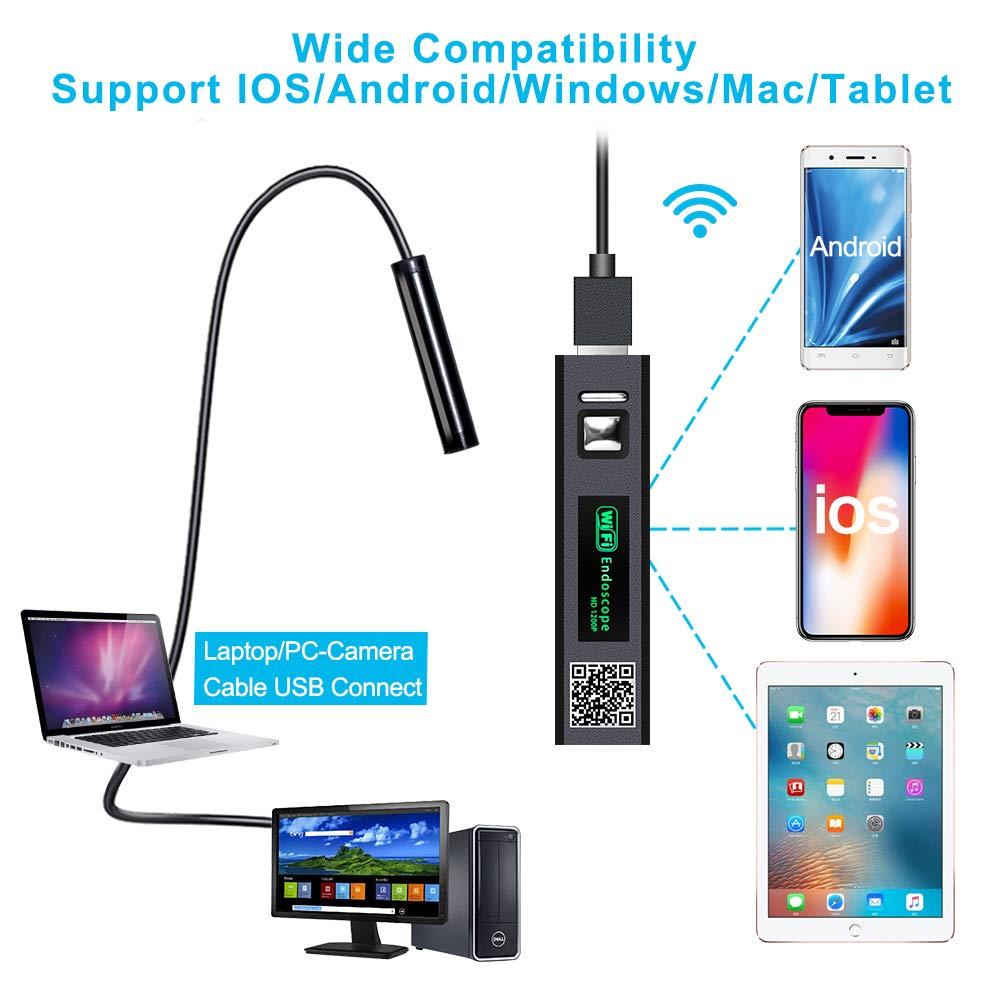 32,8FT PiAEK Wireless Endoscopio WiFi USB Endoscopio Android e iPhone iOS 1200P HD Impermeable C/ámara Inspecci/ón Semi R/ígido Cable Boroscopio Compatible con Smart Phone//Tablet//Laptop//PC//Windows