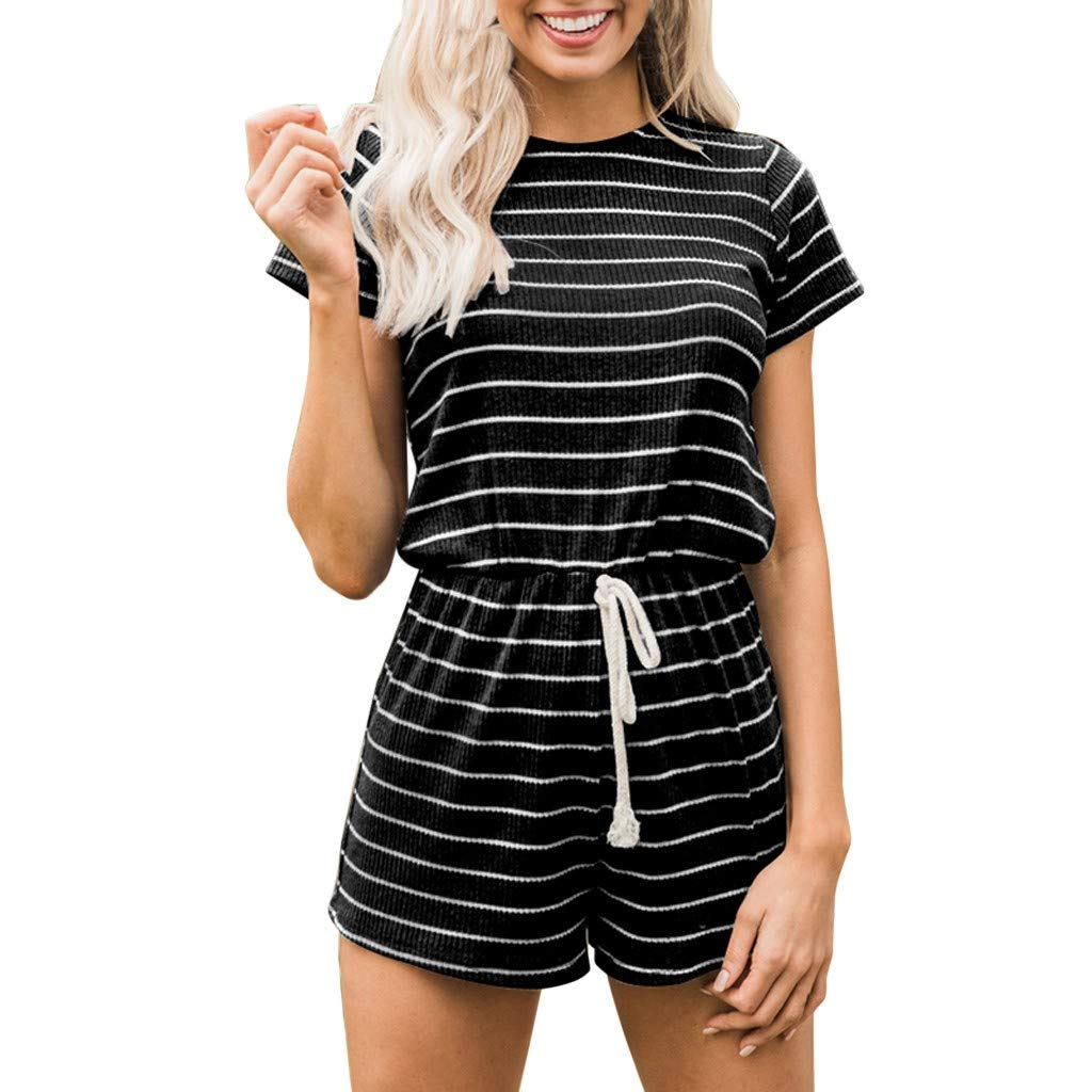 〓COOlCCI〓Women's Summer Short Sleeve Romper Casual Loose Stirped Short Rompers Jumpsuits Elastic Waist Playsuit Black