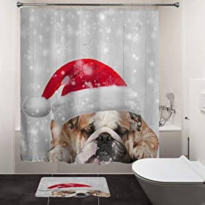 HIYOO Christmas Cute Dog Shower Curtain Sets, Xmas New Year Home Decorations Winter Holiday Bathroom Decor Waterproof Polyester Fabric Shower Curtain with Hooks - Sleepy Bulldog 60