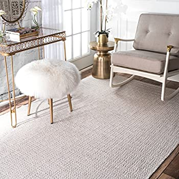 nuLOOM Hand Loomed Diamond Cotton Check Flat Woven Area Rugs, 4' x 6', Taupe