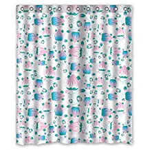 DebbieBrown Colorful Geometry Christmas Shower Curtains Polyester Best For Artwork Kids Bf Birthday Kids Girl. Eco Friendly Width X Height / 60 X 72 Inches / W * H 150 By 180 Cm(fabric)