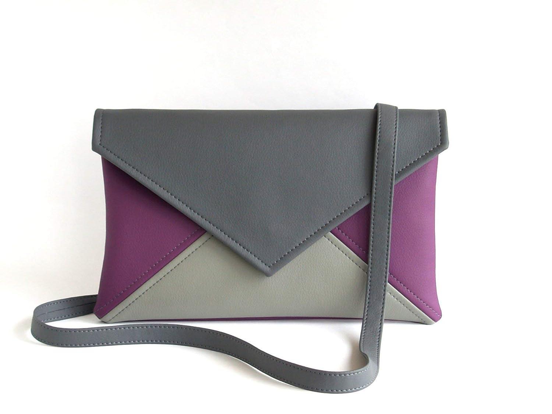 good out x durable service recognized brands Amazon.com: Clutch envelope Grey Dark Grey Purple Clutch ...