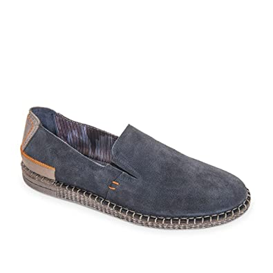 Espadrilles Men's Moccasin Casual Blue Leather Shoes Made In Italy