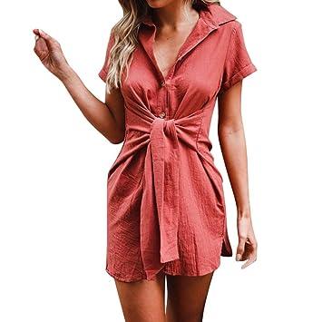 LILICAT® Camisetas largas de manga corta para mujeres, camisetas Sólidas y delgadas, corbata