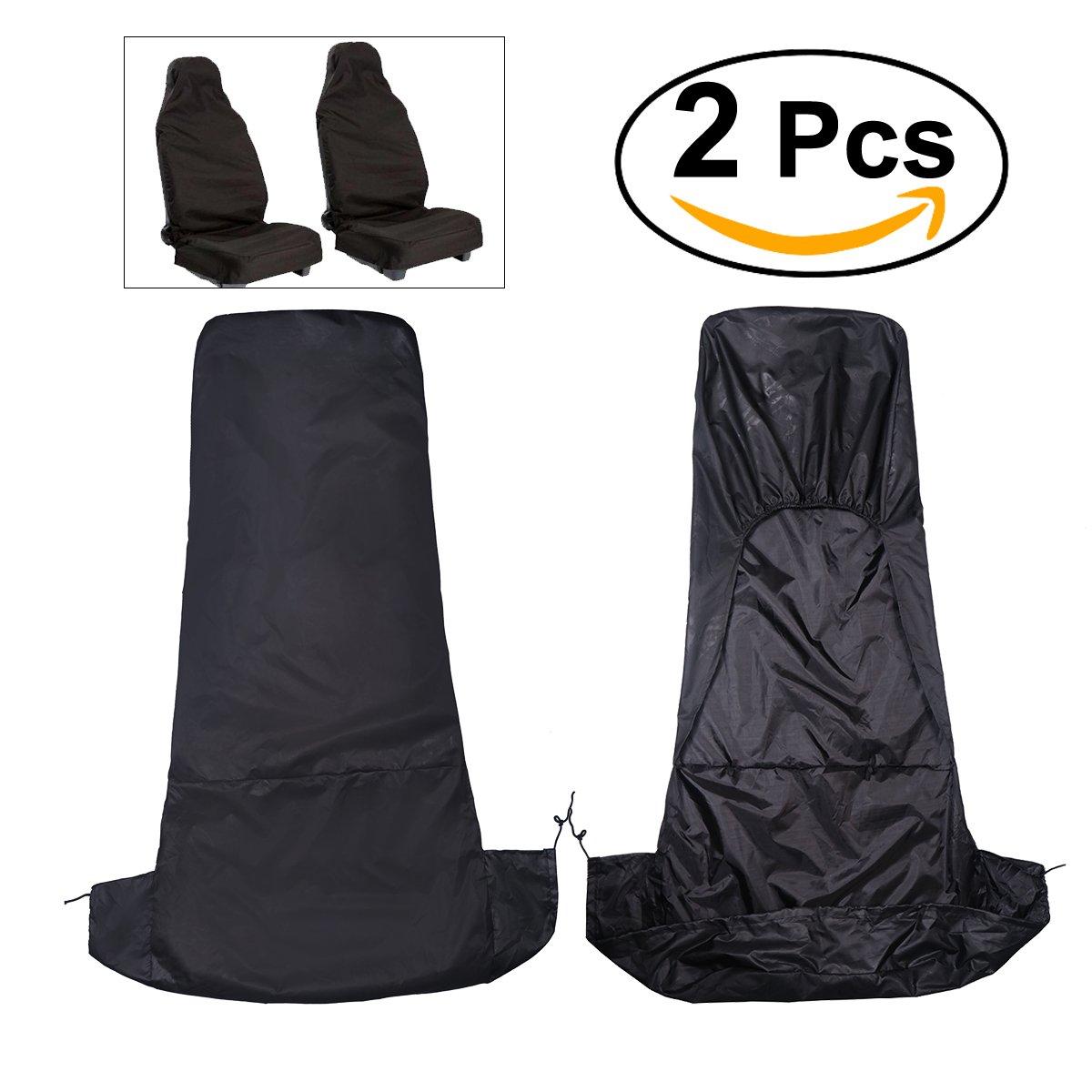 WINOMO 2pcs housse de siège de voiture Nylon étanche universel voiture véhicule Van siège couvercle protecteur (noir)