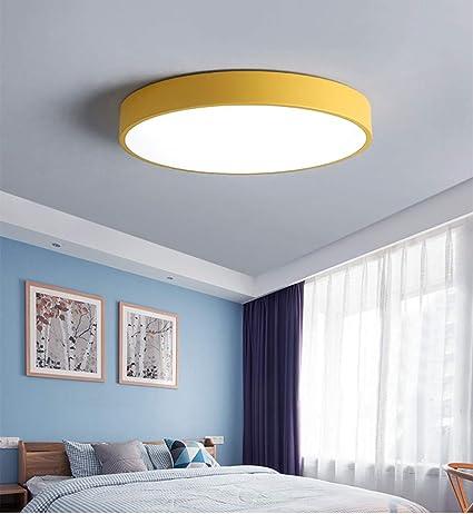 36W Amarillo Lámpara de techo LED de color blanco cálido, 3500 K, redonda, ultrafina, moderna, para dormitorio, baño, sala de estar (Ronda 50CM