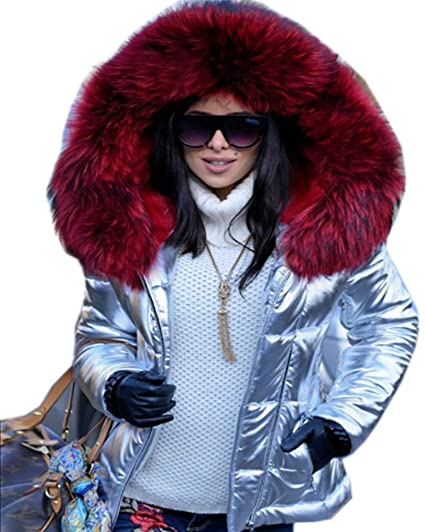 e918a8345c1 Roiii Women Winter Warm Faux Fur Down Metallic Rockabilly Slim Top Hood  Short Coat  Amazon.co.uk  Clothing