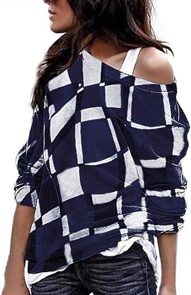JURTEE Camiseta para Mujer Talla Grande Moda Casual Cuello Oblicuo Tops Blusa Manga Larga Tops Camisa Cuadros: Amazon.es: Ropa y accesorios