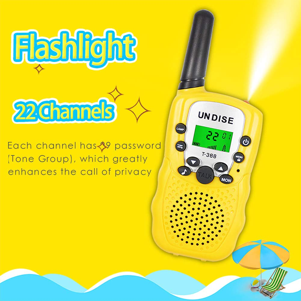 undise Walkie Talkies for Kids 3 Mile Range Mini 22 Channels 2 Way Radio Toy Kids Walkie Talkies with Flashlight for Outside Adventures, Camping, Hiking, 3 Packs by undise (Image #2)