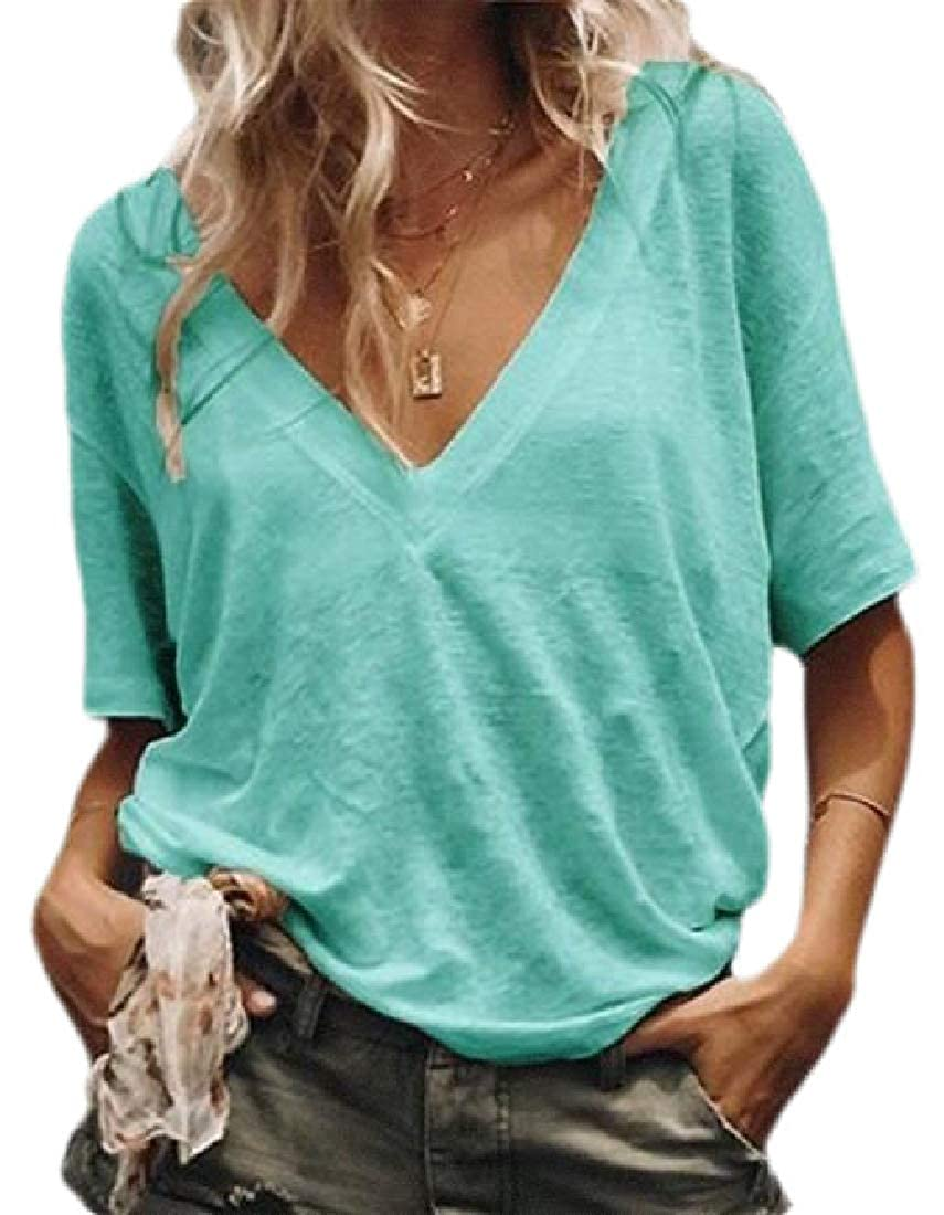 Zantt Women Solid V-Neck Short Sleeve Casual T-Shirt Tee