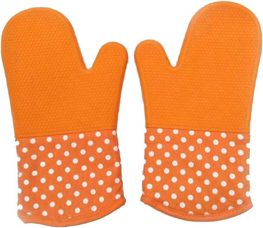 Oven Gloves Silicone Baking Tools Thickened High Temperature Non-Slip (Color : Yellow)