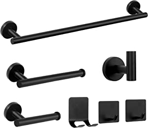 NearMoon 7 Pieces Bathroom Hardware Set SUS304 Thicken Stainless Steel-Towel Rack Set Include 24