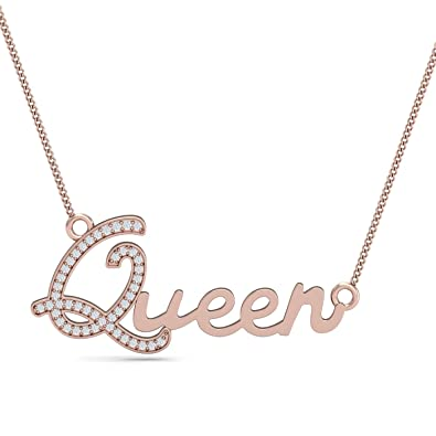 7844244d1 Buy Kuberbox 14k (585) Rose Gold and Diamond Queen Name Pendant Online at  Low Prices in India | Amazon Jewellery Store - Amazon.in