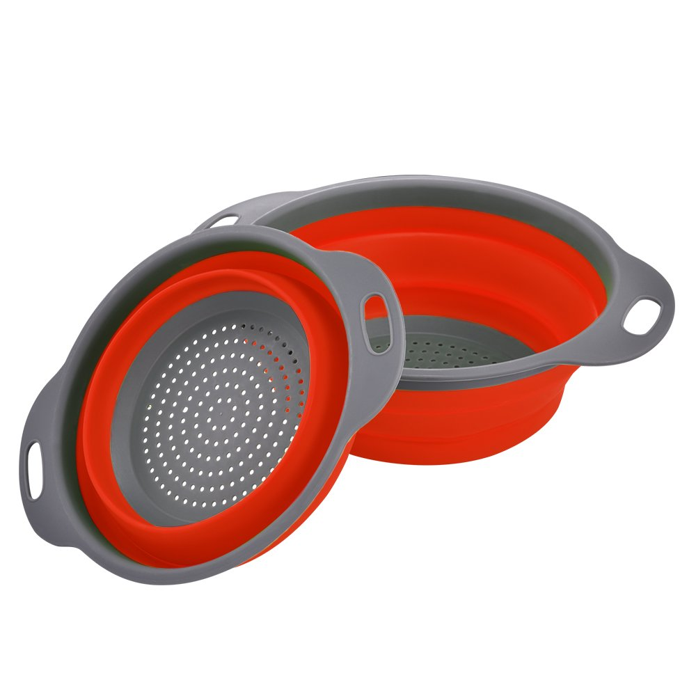 Enko Colander Set, Kitchen Foldable Silicone Filter, Environmentally Friendly Non-Toxic Easy to Clean, 2 Sizes Including 8-inch and 9.5-inch (Red)