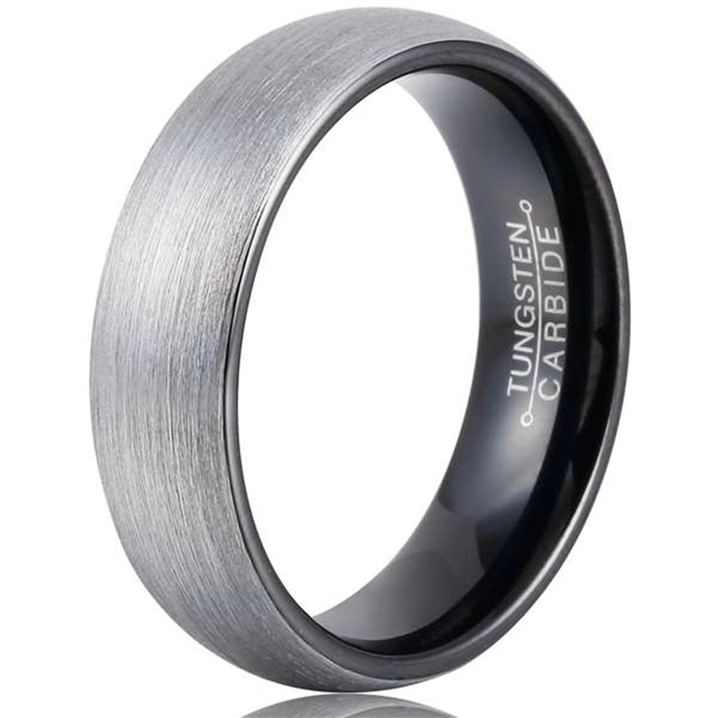 AMDXD Jewelry Free Engraving Rings for Men Round Black Wedding Bands 6MM