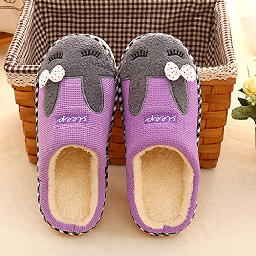 House Cotton Eagsouni® Purple Women's Anti Warm Plush Slippers Home Indoor Shoes Men's Slip IwU0qwnH