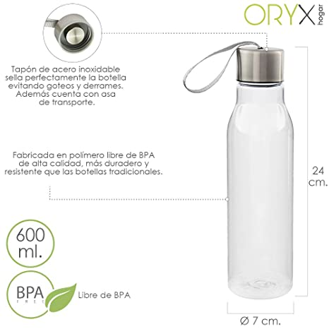 Amazon.com: Water Bottle Plastic 600 ml. with Handle. BPA ...