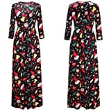 Cheap Stuff !!! Women Christmas Print Long Sleeve Dress Ladies Evening Party Long Maxi Dress (M, Black)