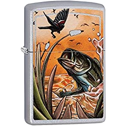 Zippo Bass & Bird Satin Chrome Pocket Lighter