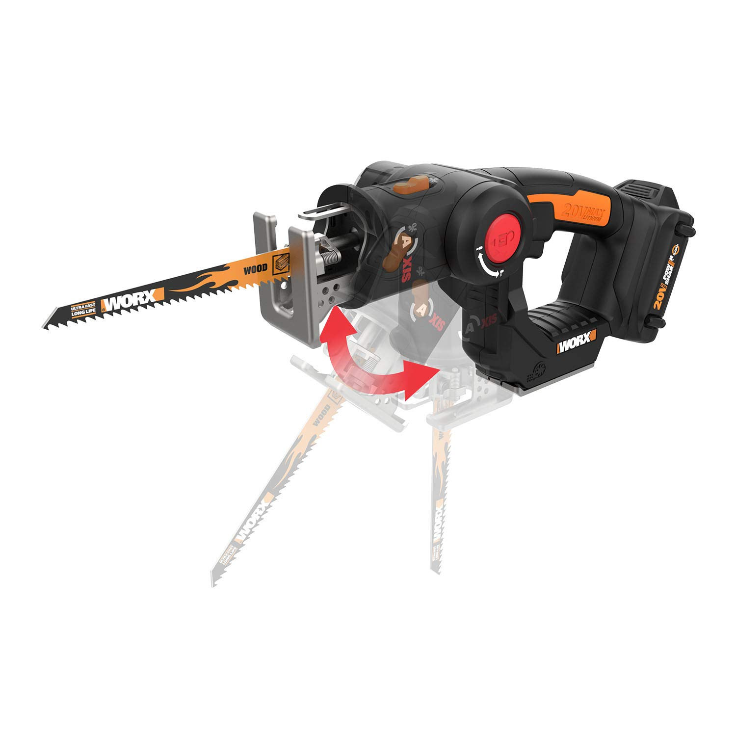 WORX WX550L 20V AXIS 2-in-1 Reciprocating Saw and Jigsaw with Orbital Mode, Variable Speed and Tool-Free Blade Change by WORX