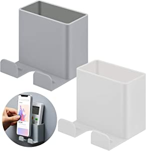 2 Pieces Wall Mount Phone Holders Adhesive Wall Phone Storage Box Wall Mounted Phone Holder Wall Smartphone Stand for Home Bedroom Bathroom Kitchen Office Wall (White, Grey)