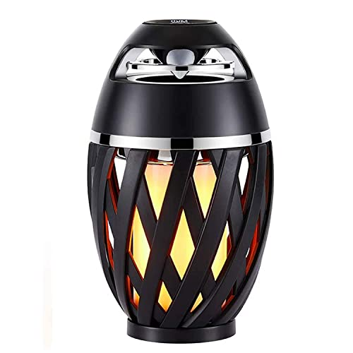 LED Flame Table Lamp, Amzchen Outdoor Torch Atmosphere Bluetooth Speakers with Stereo Sound Exclusive BassUp HD Audio Wireless Portable Table Lamp Night Light Speaker BT 4.2 for iPhone iPad Android