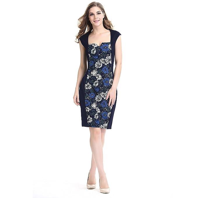 Las mujeres Floral Impreso Vestido Vintage vestido lápiz vestido: Amazon.es: Ropa y accesorios