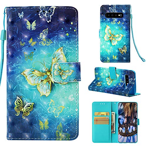 (MerKuyom Galaxy S10 Case, for [S10] [Wrist Strap] [Kickstand] Premium PU Leather Wallet Pouch [Card Holder] Protective Flip Cover Case W/Stylus (3D Blue Yellow Butterfly, for Galaxy S10))