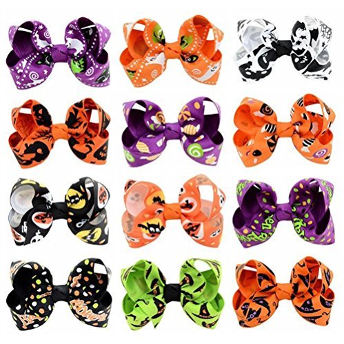 Royarebar Diverse Styles Hair Decorations 12PCS Boutique Hairc Clips Child Funny Hair Clips Halloween Decorations by Royarebar