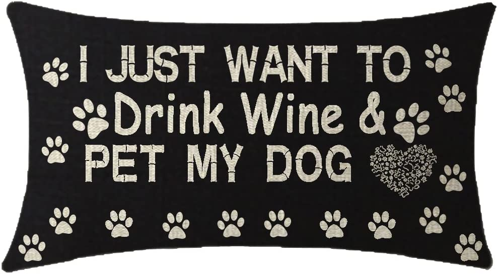 NIDITW Nice Gift I Just Want to Drink Wine and Pet My Dog Black Waist Lumbar Cotton Linen Cushion Cover Pillow Case Cover Home Chair Couch Outdoor Decor Rectangle 12x20 inches