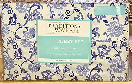 WAVERLY BLUE FLORAL VINES Sheet Set - QUEEN SIZE (white background)
