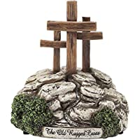 Three Crosses Calvary 6 x 6 Resin Musical Figurine Plays Tune The Old Rugged Cross