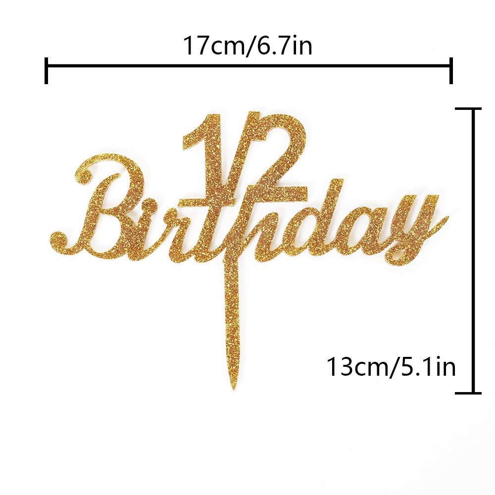 1 2 Birthday Gold Glitter Acrylic Cake Topper For Celebrate Sweet 6