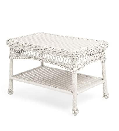Amazon Com Easy Care Resin Wicker Coffee Table Bright White
