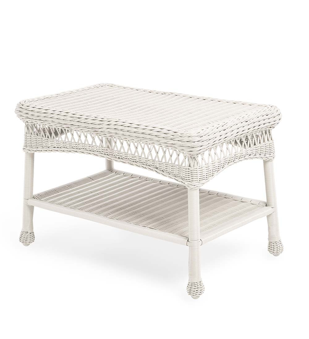 Plow & Hearth 39006-BWH Easy Care Outdoor Furniture Resin Wicker Coffee Table, 29.5'' L x 17.5'' W x 18.5'' H, Bright White