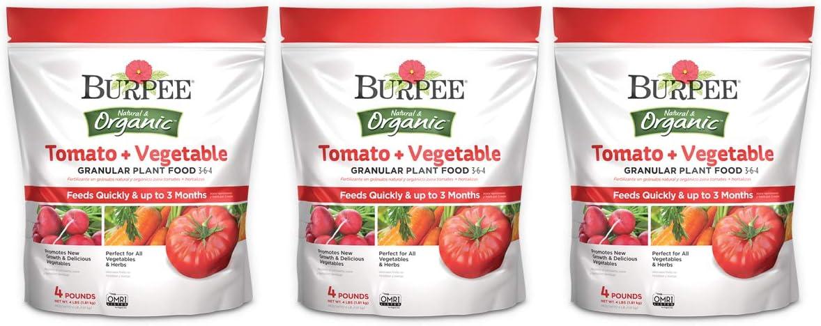 Burpee Organic Tomato and Vegetable Granular, Plant Food, 4 lb (3 Pack)