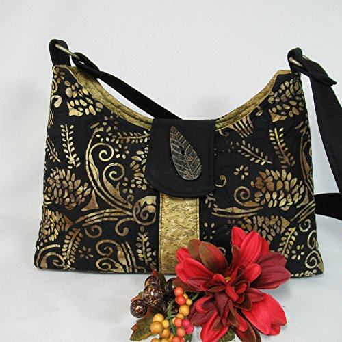 Quilted Shoulder Bag - Batik Tan Pine Cones on Black, Medium (Tan Pinecone)