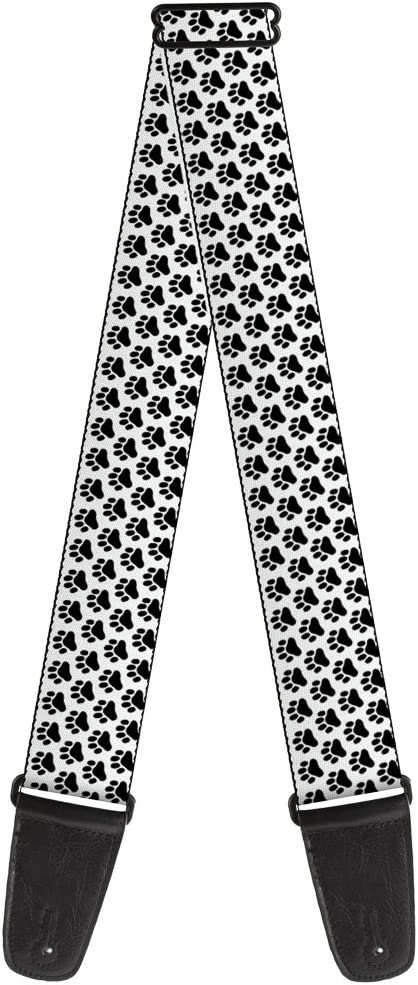 Guitar Strap Paw Print Black Multi Color 2 Inches Wide