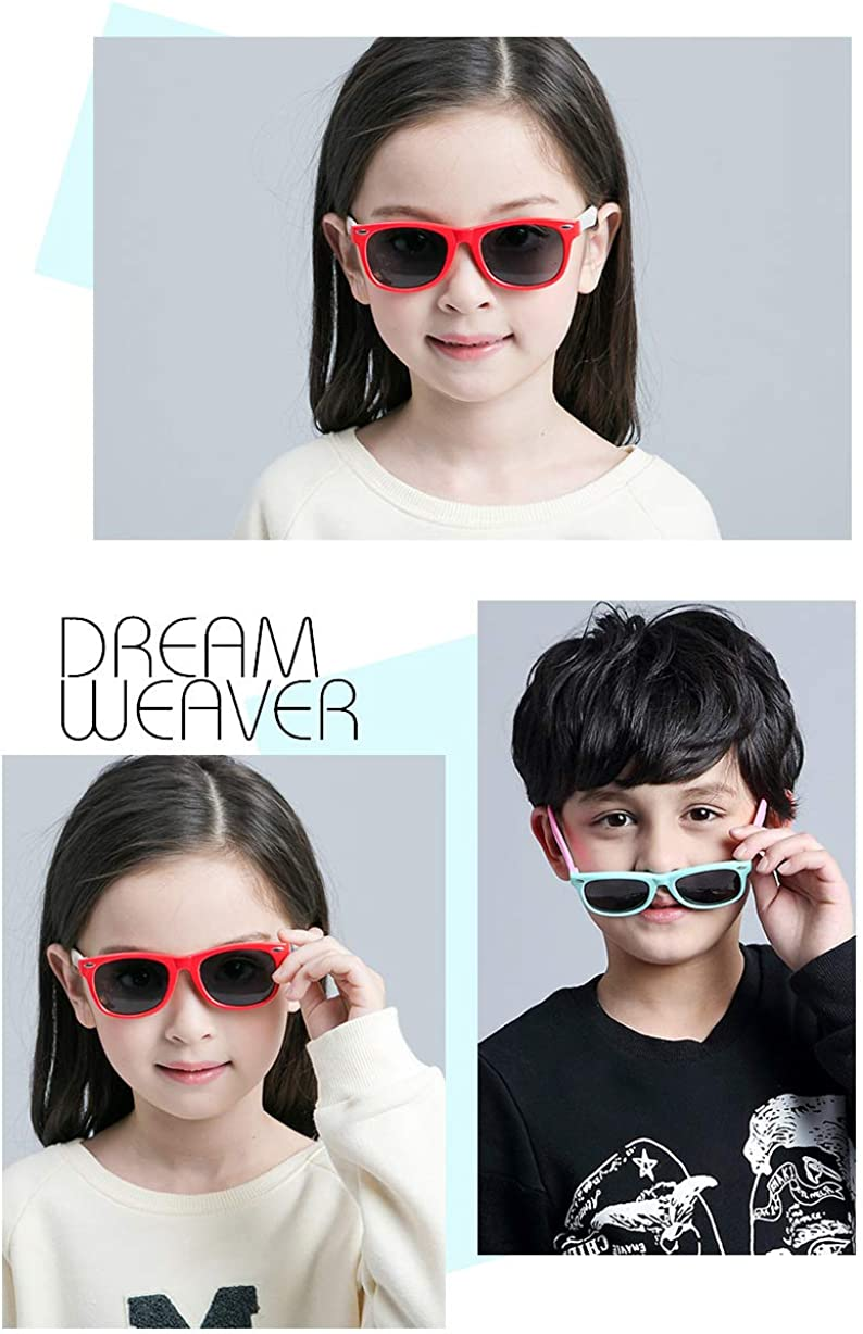 Yellow Blue HMILYDYK Boys and Girls Kids Sunglasses Rubber UV400 Flexible Frame Polarized Sunglasses for Kids Ages 3-10